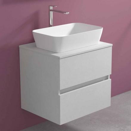 Gabinete de banheiro suspenso com lavatório de bancada retangular, design moderno - Dumbo
