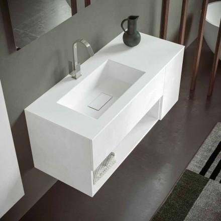Gabinete de banheiro suspenso com lavatório integrado, design moderno, 4 acabamentos - Pistillo