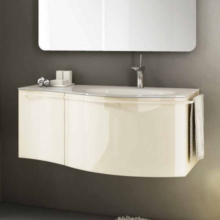 Pia de banheiro moderna Gioia 1 feita de madeira laqueada, cor bege