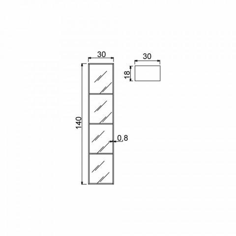 Armário de banheiro com 4 compartimentos, L300x H1400 mm, Adelia