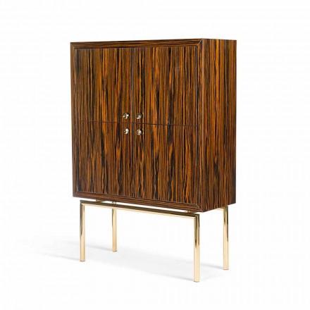 Gabinete de design moderno Ada com 4 portas, feito de ébano, acabamento brilhante