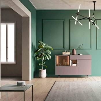 Aparador de Móveis para Entrada ou Sala em Design Ecológico de Madeira e Vidro - Bruno