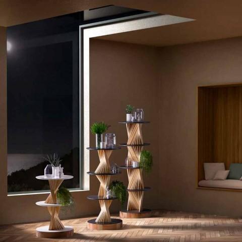Móveis Design em Madeira com Prateleiras Redondas em Gres Made in Italy - Aspide