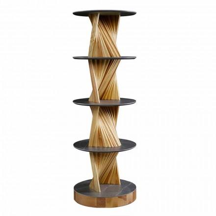 Armário de madeira de luxo com prateleiras redondas de grés Made in Italy - Aspide