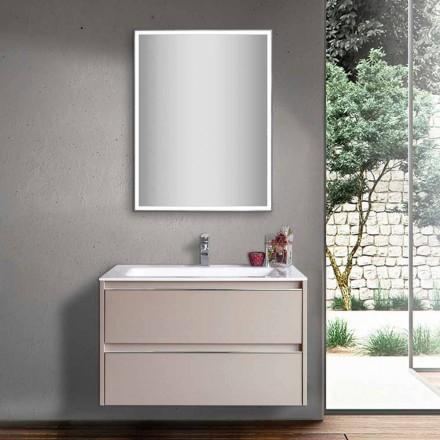 Lavatório de Banheiro Cinza Dove em Madeira e Mármores Mineral com Espelho LED - Alfonso