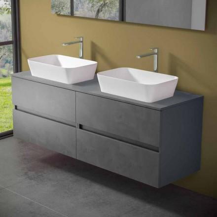 Gabinete de banheiro suspenso com lavatório duplo de bancada - Mandrillo