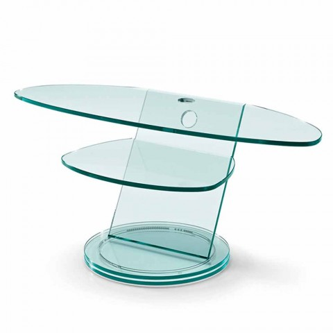 Armário para TV de vidro com base giratória e prateleira de 2 dimensões - Salemme