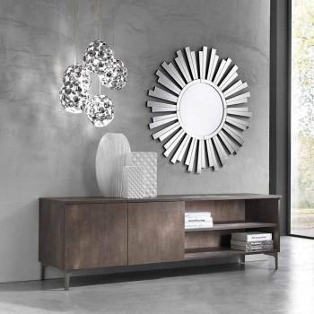 Suporte moderno para tv com duas portas em madeira de melamina fabricada na Itália - Clemente