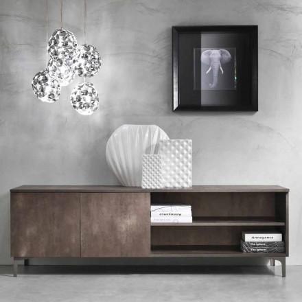 Armário de Tv moderno com duas portas em madeira de melamina fabricada na Itália - Clemente
