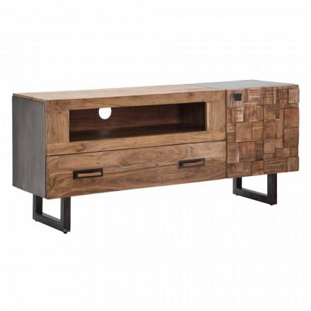 Suporte de TV moderno em ferro e madeira de acácia com gaveta e porta - Deanna