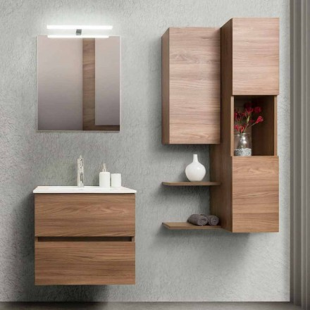 Armário de Banheiro 60 cm, Espelho, Lavatório e Coluna - Becky