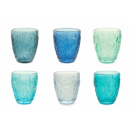 Copos coloridos azuis modernos Serviço de água de 6 peças - Mazara