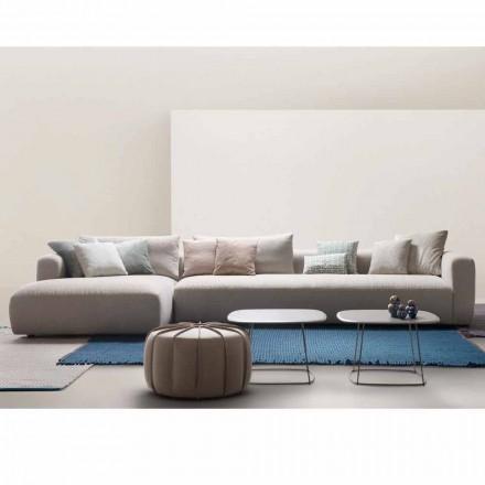 Sofá modular suavemente, feito na Itália por My Home, estofamento de tecido