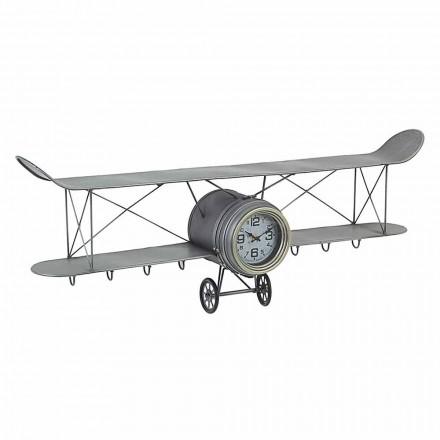 Relógio de Parede em Forma de Avião em Aço e Vidro Homemotion - Plano