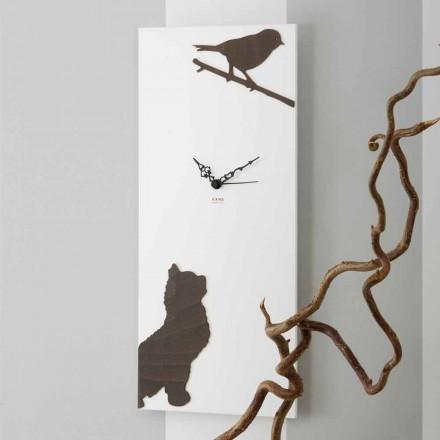 Relógio de Parede Branco com Decorações de Animais de Madeira Design Moderno - Suspense