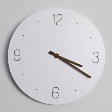 Relógio de Parede Design Clássico em Madeira Redonda Branca com Corte a Laser - Jovial