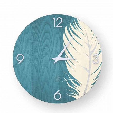 Relógio de parede de design moderno feito de madeira Pico, produzido na Itália