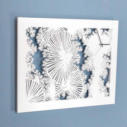 Relógio de parede design em madeira branca ou pomba retangular - Artificio