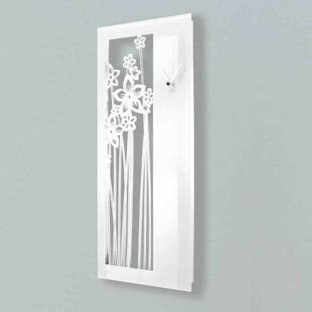 Relógio de Parede Design Retangular Moderno em Plexiglass Branco - Elara
