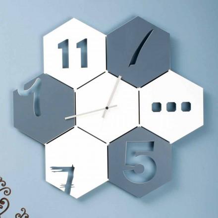 Relógio de parede grande em madeira com design moderno hexagonal - Nidodape