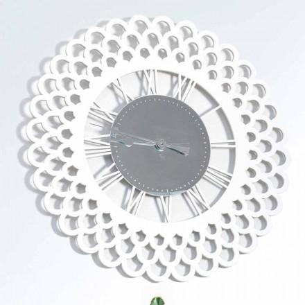 Relógio de parede em madeira branca Design floral grande e moderno - Gerbera