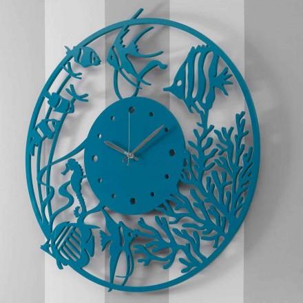 Relógio de parede de madeira redondo colorido moderno grande - Infondoalmar
