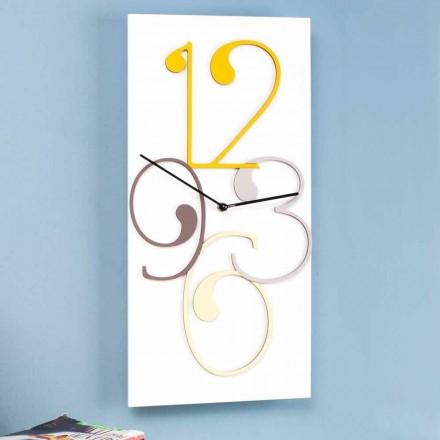 Relógio de parede Design moderno retangular de madeira colorida e branca - Matemática