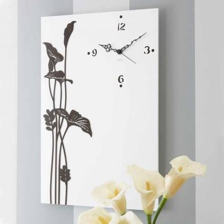 Relógio de parede retangular moderno em madeira com desenho decorado branco - Croco