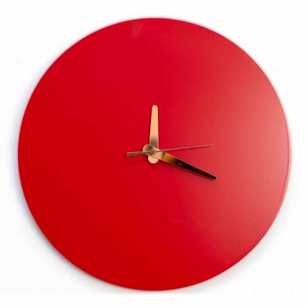 Relógio de parede vermelho com design italiano redondo e moderno em madeira - Callisto