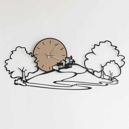 Relógio de parede com paisagem em ferro preto ou lama fabricado na Itália - Paesello