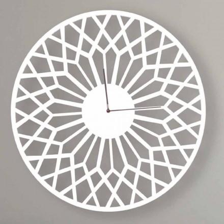 Relógio de parede grande e moderno em madeira redonda colorida - Dandalo