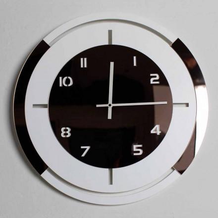 Relógio de parede em madeira branca e bronze Decorações de design moderno - Mavia