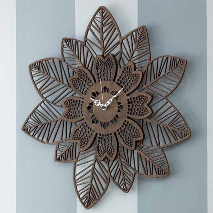 Relógio de parede em madeira clara ou escura com um desenho moderno de flores - Aquilegia