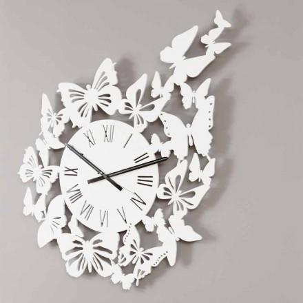 Relógio de parede Design moderno em madeira colorida, decorado com borboletas - Papilio