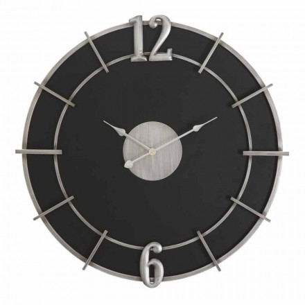 Relógio de Parede Redondo com Design Moderno em Ferro e MDF - Esperança