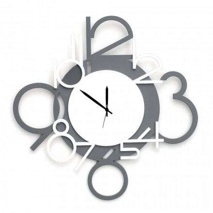 Relógio de Parede Grande e Moderno em Madeira Branca e Cinza - Dígito