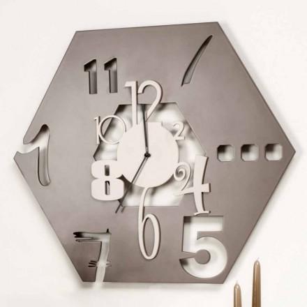 Relógio de parede de madeira grande com design hexagonal moderno - Poliedro