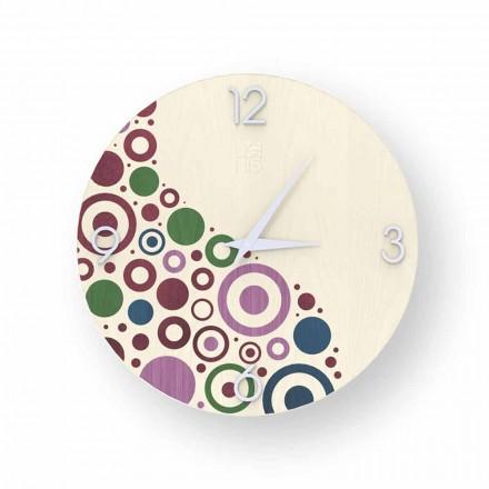 Relógio de parede de design moderno feito de madeira Curno, produzido na Itália