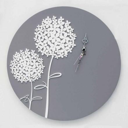 Relógio de parede de madeira cinza decorado moderno com design redondo - chuveiro