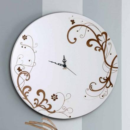 Relógio de parede de madeira moderno e redondo com decorações sazonais