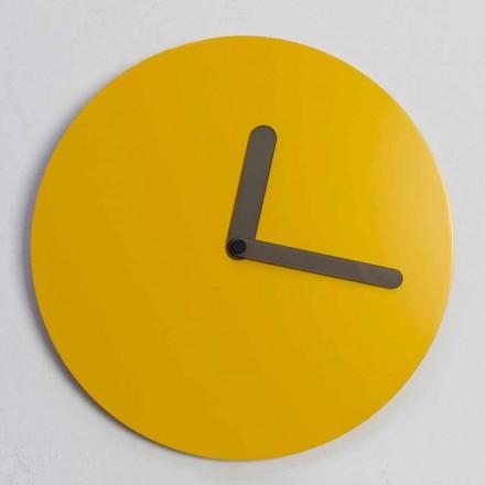 Relógio de parede moderno em madeira ocre redondo design feito na Itália - Amaltea