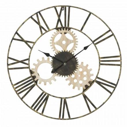 Relógio de parede redondo Diâmetro 70 cm Design moderno em ferro e MDF - Jutta
