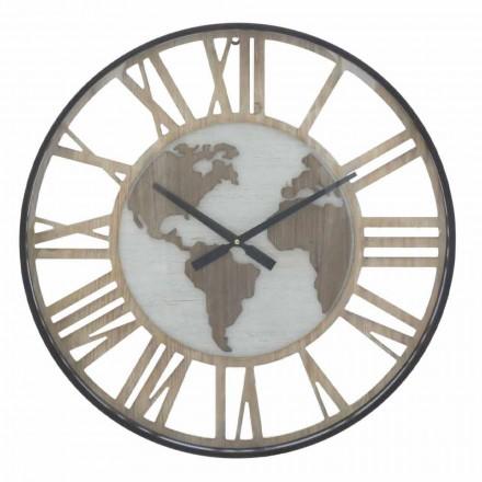 Relógio de parede redondo com diâmetro 60 cm Moderno em Ferro e MDF - Arnela