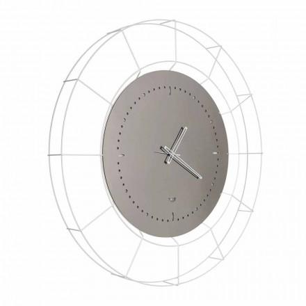 Relógio de parede com espelho moderno em aço branco fabricado na Itália - Adalgiso