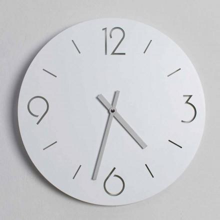 Relógio de parede branco de design clássico em madeira redonda - Septimius