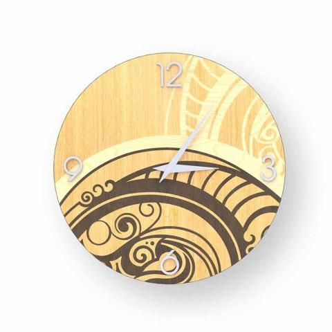 Adro relógio de parede de design abstrato feito de madeira, feito na Itália