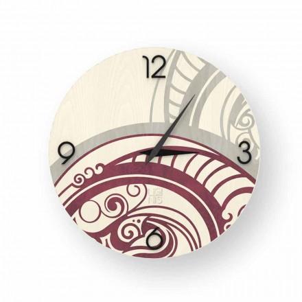 Adro relógio de parede de design abstrato feito de madeira, produzido na Itália