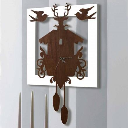 Relógio de Parede Design Moderno em Madeira Escura e Branca Decorada - Conto de Fadas