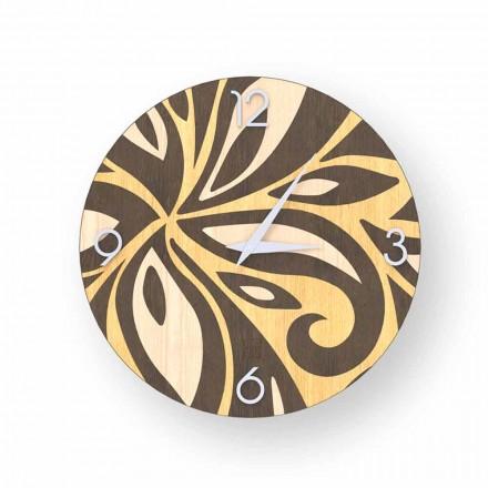 Relógio de parede de design moderno feito de madeira Zane, produzido na Itália