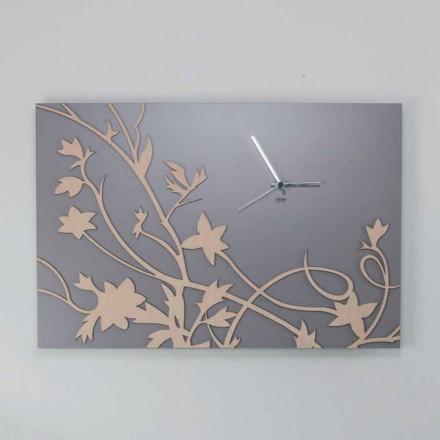 Relógio de parede retangular cinza moderno com design em madeira decorada - gálio